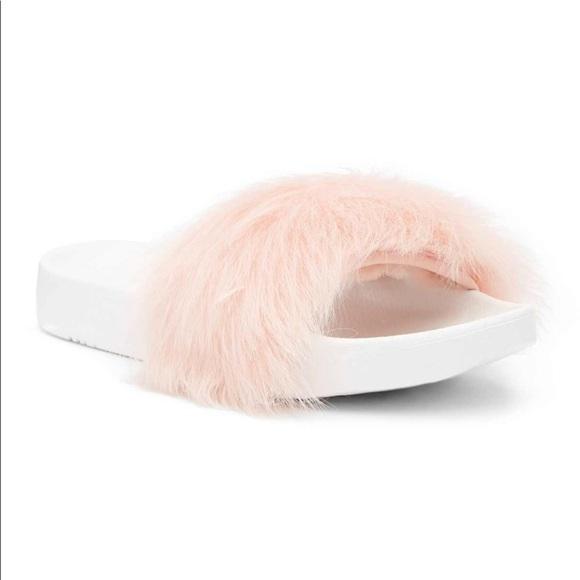 ugg shoes royale lamb fur slides in baby pink poshmark